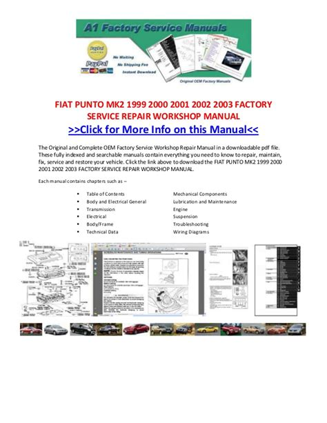 Fiat Coupe 20v Wiring Diagram by Fiat Punto Mk2 1999 2000 2001 2002 2003 Factory Service