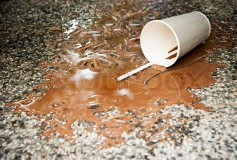spill on the floor spilled ice coffee on floor stock photo colourbox