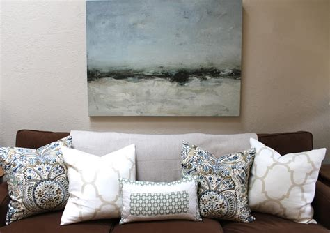 Throw Pillows For Brown Sofa by Brown Blues Mini Makeover Before And After