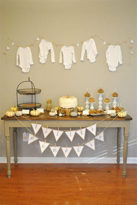 fall themed decor  pumpkin baby shower