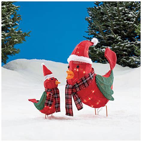 big lotsoutdoor christmas lighting lighted burlap cardinals 2 set big lots