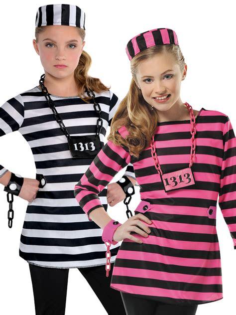 childs girls prisoner costume teen convict robber fancy