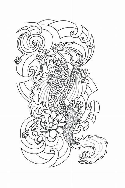 Coloring Pages Tattoo Adults Heart Japanese Adult