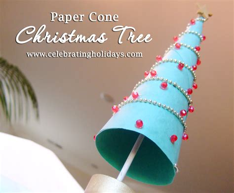 paper cone christmas tree diy craft celebrating holidays