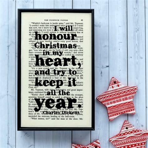charles dickens christmas decoration print  bookishly