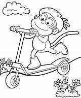 Scooter Coloring Pages Colouring Boots Scooters Dora Riding Stunt Mgp Printables Happy Picolour Lots Template sketch template