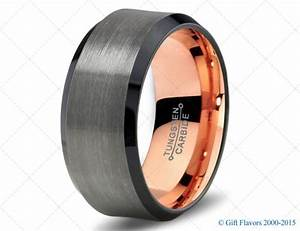 Black gunmetal tungsten ring rose gold wedding band by for Mens gunmetal wedding rings