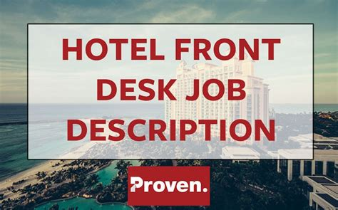 front desk job openings the perfect hotel front desk agent job description