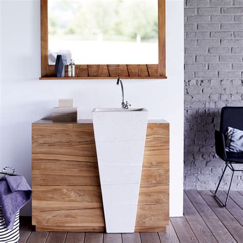 table bout de canap meuble en teck avec vasque en terrazzo blanc tikamoon