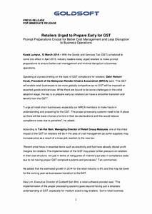 Goldsoft GST Press Briefing Press Release 130314