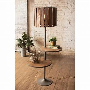 floor lamp with two round rotating shelves With round shelf floor lamp
