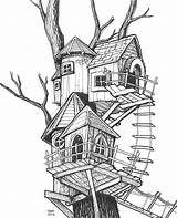 Treehouse Drawing Sketch Fantasy Coloring Template sketch template