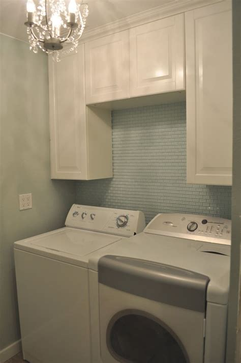 mini white glass subway tile  laundry room