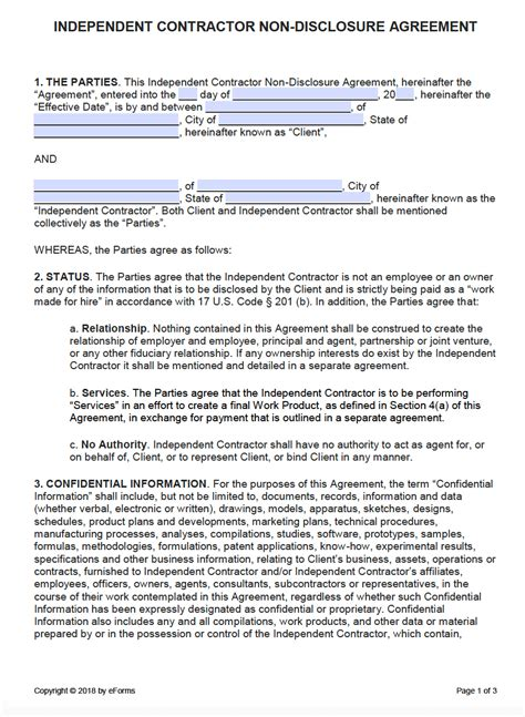 independent contractor  disclosure agreement nda