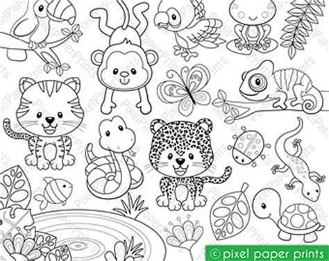 jungle animals clipart black and white clipart jungle animals black and white