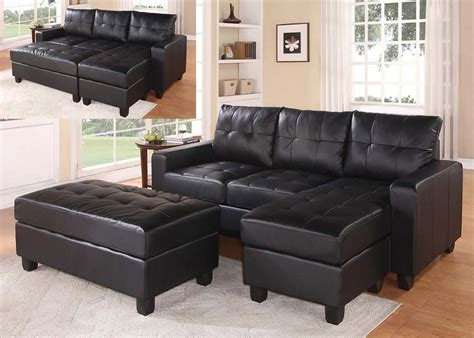 black leather sectional with ottoman lyssa black bonded leather reversible sectional sofa ottoman