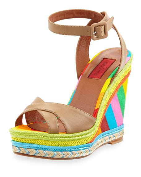 chagne colored wedges valentino multicolor espadrille wedge sandal