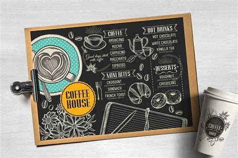 Blackboard coffee menu template with professional fonts and graphic illustrations. Food menu, restaurant flyer #35 by BarcelonaShop on @creativemarket | Menu template, Coffee menu ...