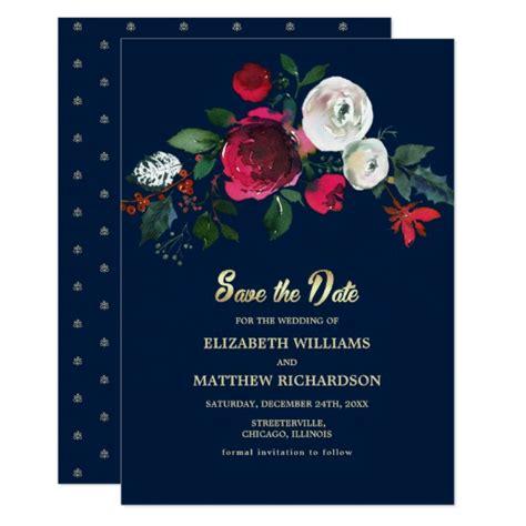 navy blue burgundy bloom wedding save  date