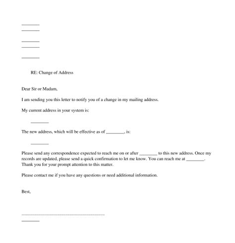 change  address letter template word
