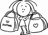 Shopping Outline Bags Holding Woman Bag Sketch Illustration Drawing Line Vector Dreamstime sketch template