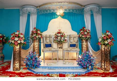 Asian Culture Blue Wedding Stage Stock Photo (Edit Now