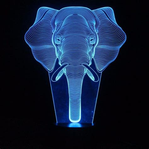 interesting  illusion lamp led night lights  elephant pattern table lamp  friends gifts