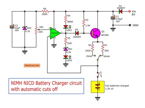 36v Battery Indicator Wiring Diagram by Automatic Nimh Battery Charger Circuit Using Ic4558