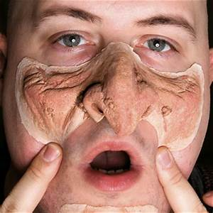 Applying makeup to a hairy face