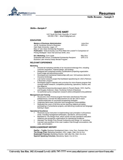 Exle Of Skills In Resume by Doc 12751650 Skills And Ability For Resumes Skill
