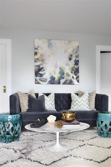 navy velvet tufted sofa  high  contemporary