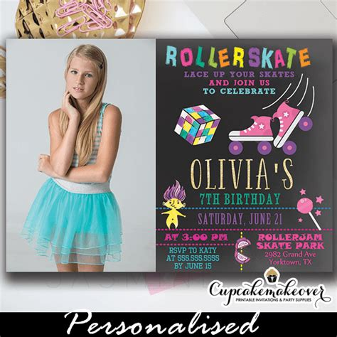 theme roller skating birthday photo invitations girl