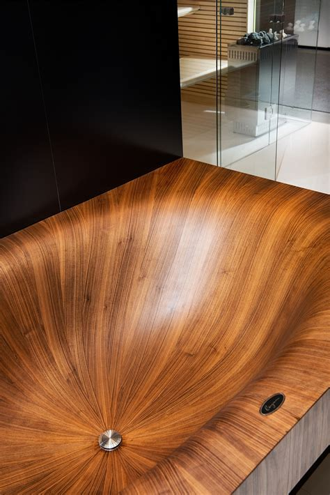 luxurious  dramatic wooden bathtubs   bold visual