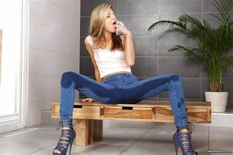Stepsister Pees In Leather Jeans