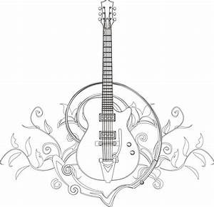 Guitar Coloring Page I Blanco Designs Zentangles Adult Colouring Pinterest Guitars And
