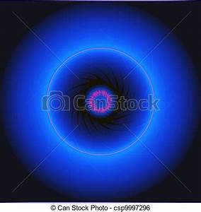 Stock Illustration of The blue neon glowing circles on a