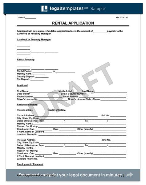rental application form create   lease application form