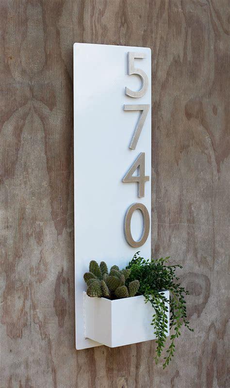 wall planter  brushed aluminum address numbers decoholic