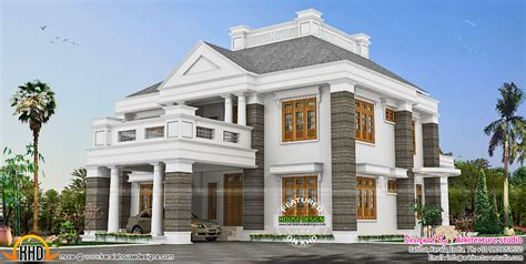 colonial touch sloped roof house plan kerala home design  floor plans