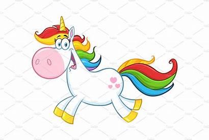 Unicorn Magic Character Cartoon Clipart Background Running