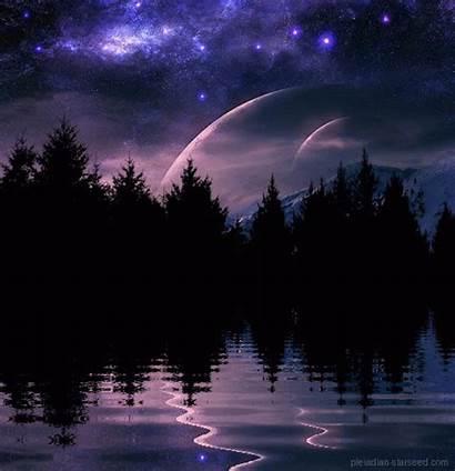 Nature Lake Animated Scenery Gifs Night Animation