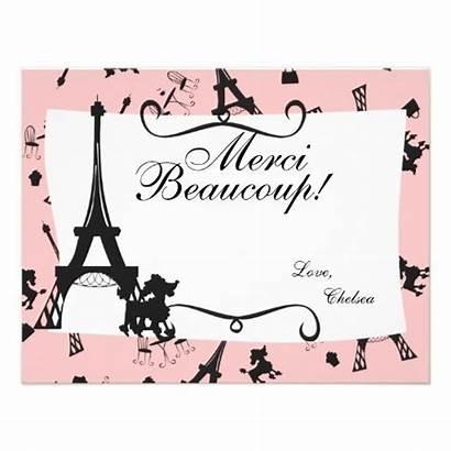 Thank Pink Zazzle Cards Parisian Party Paris