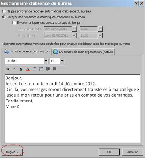 Gestionnaire D'absence Outlook  Transférer Vos Messages