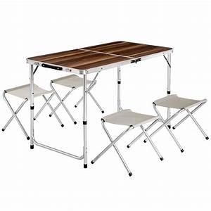 Table Pliante Valise : eensemble table pliante valise avec 4 tabourets camping ~ Melissatoandfro.com Idées de Décoration