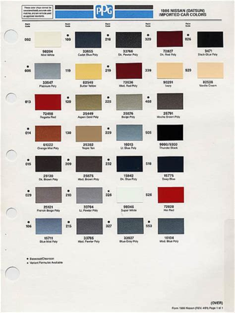 nissan car color chart pictures to pin on