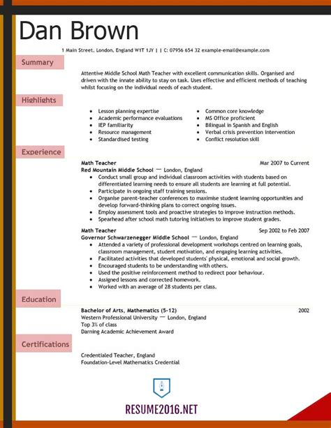 resume exles 2016 for elementary school