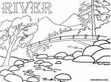 River Coloring Pages Rivers Bridge Sheet Nature Printable Colorings Divyajanani sketch template
