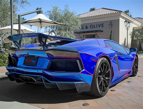 Chrome Blue Lamborghini Aventador Jigsaw Puzzle In Cars