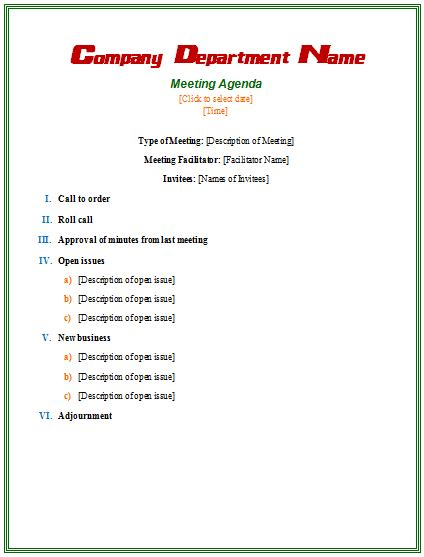 meeting agenda template microsoft word templates