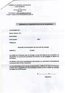 demande de transcription d acte de mariage formalites mariage franco marocain